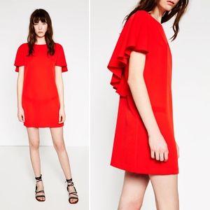 NWT Zara Red Dress Low Back Ruffle Mini Dress XS
